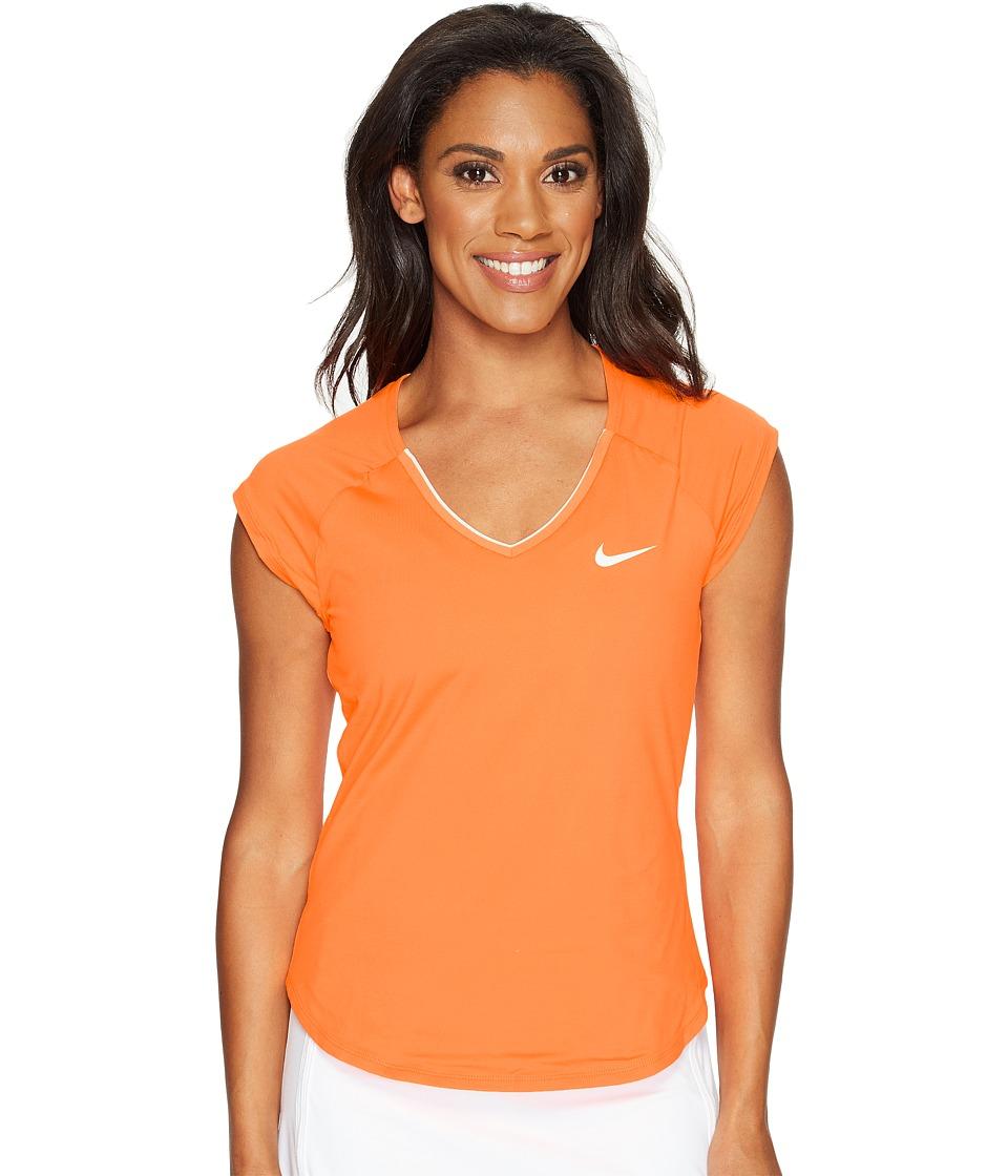Nike - Court Pure Tennis Top (Tart/White) Women's Short Sleeve Pullover