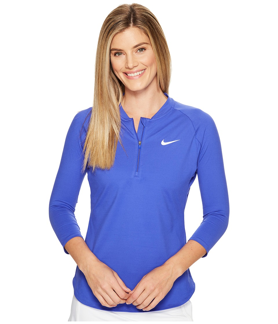 Nike - Court Dry 3/4 Sleeve Half-Zip Tennis Top (Paramount Blue/White) Women's Clothing