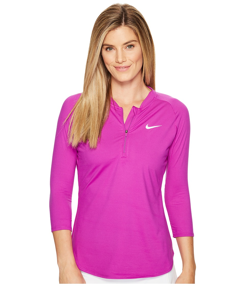 Nike - Court Dry 3/4 Sleeve Half-Zip Tennis Top (Vivid Purple/White) Women's Clothing
