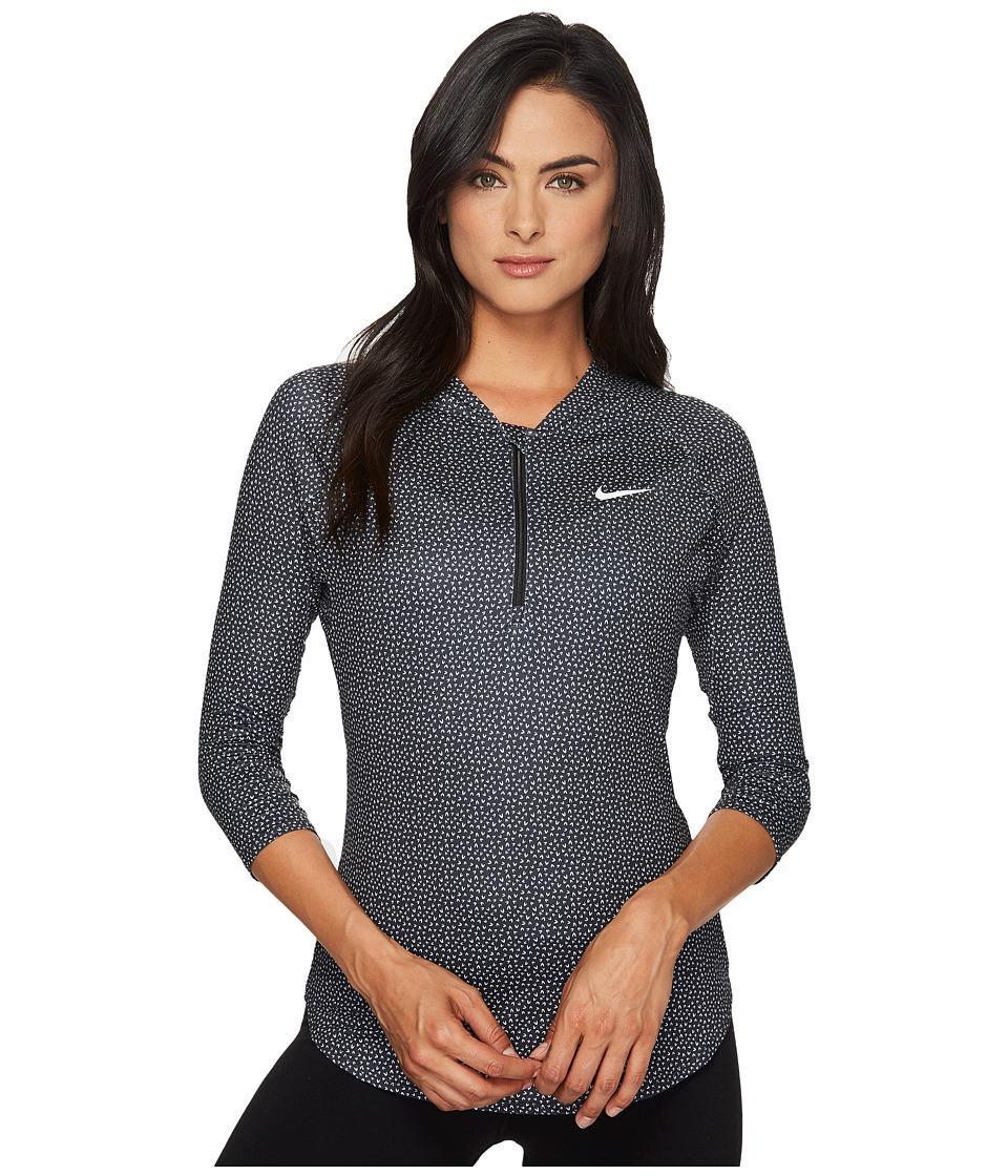 Nike - Premium Baseline 3/4 Sleeve Tennis Top (Black/Black/White) Women's Clothing