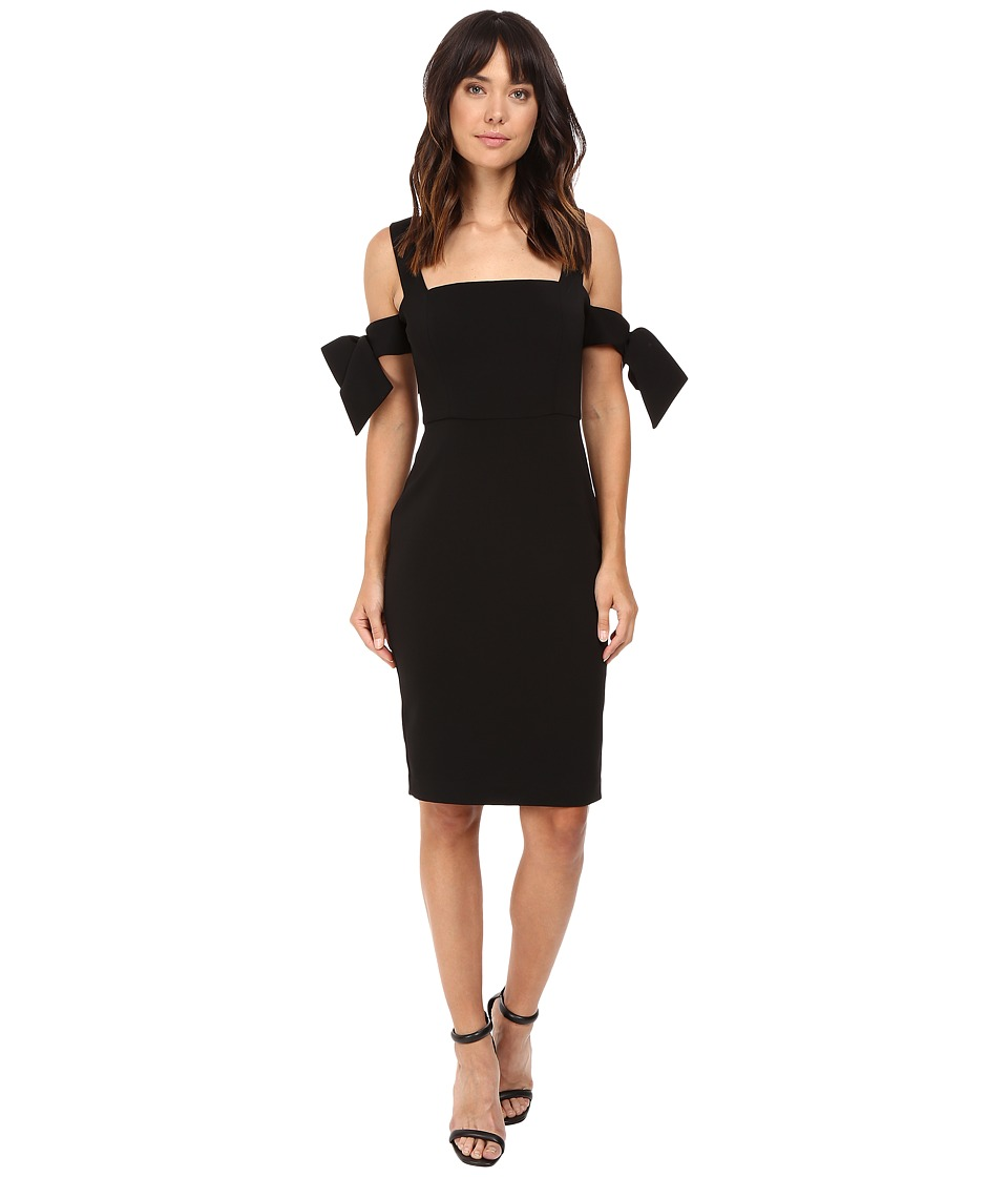 Badgley Mischka - Off The Shoulder Bow Sleeve Cocktail Dress (Black) Women's Dress