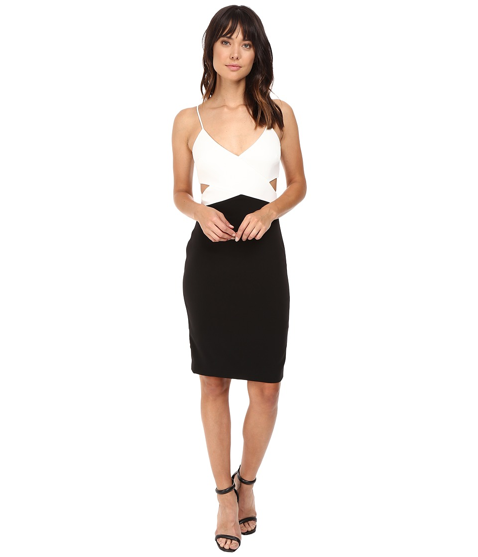 Badgley Mischka - Color Block Cut Out Stretch Dress (Ivory/Black) Women's Dress