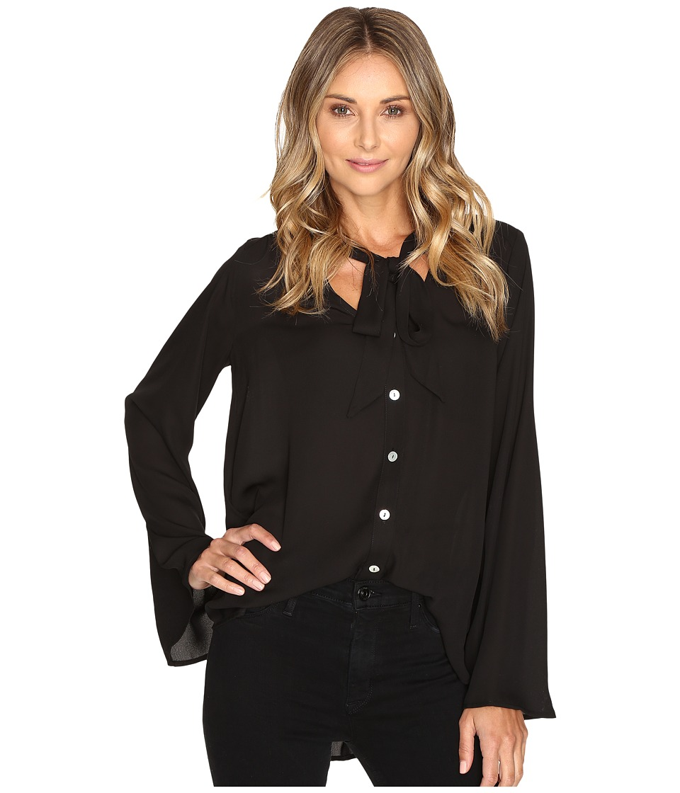Show Me Your Mumu - Taylor Tie Front Tunic (Black Crisp) Women's Blouse
