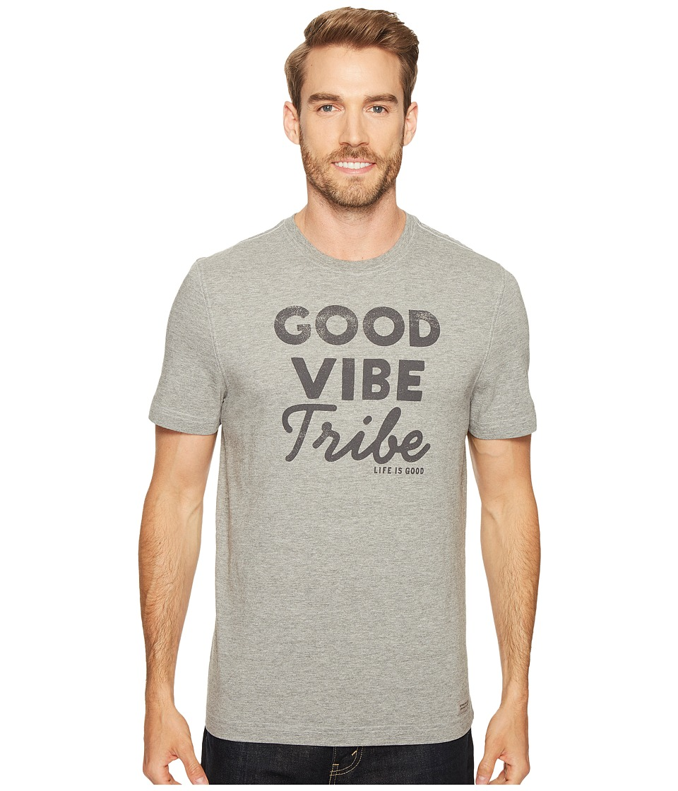 Life is Good - Good Vibe Tribe Crusher Tee (Heather Gray) Men's T Shirt