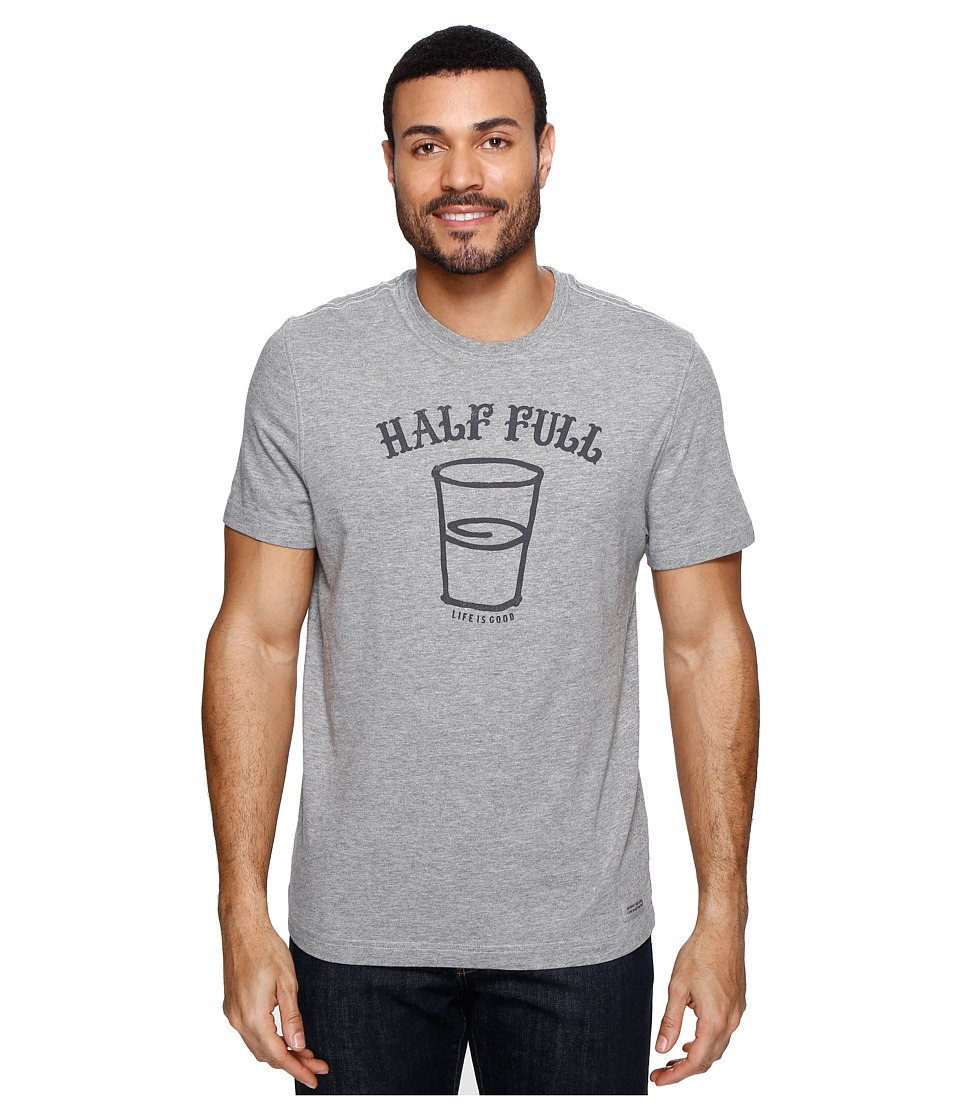 Life is Good - Half Full Arc Crusher Tee (Heather Gray) Men's T Shirt