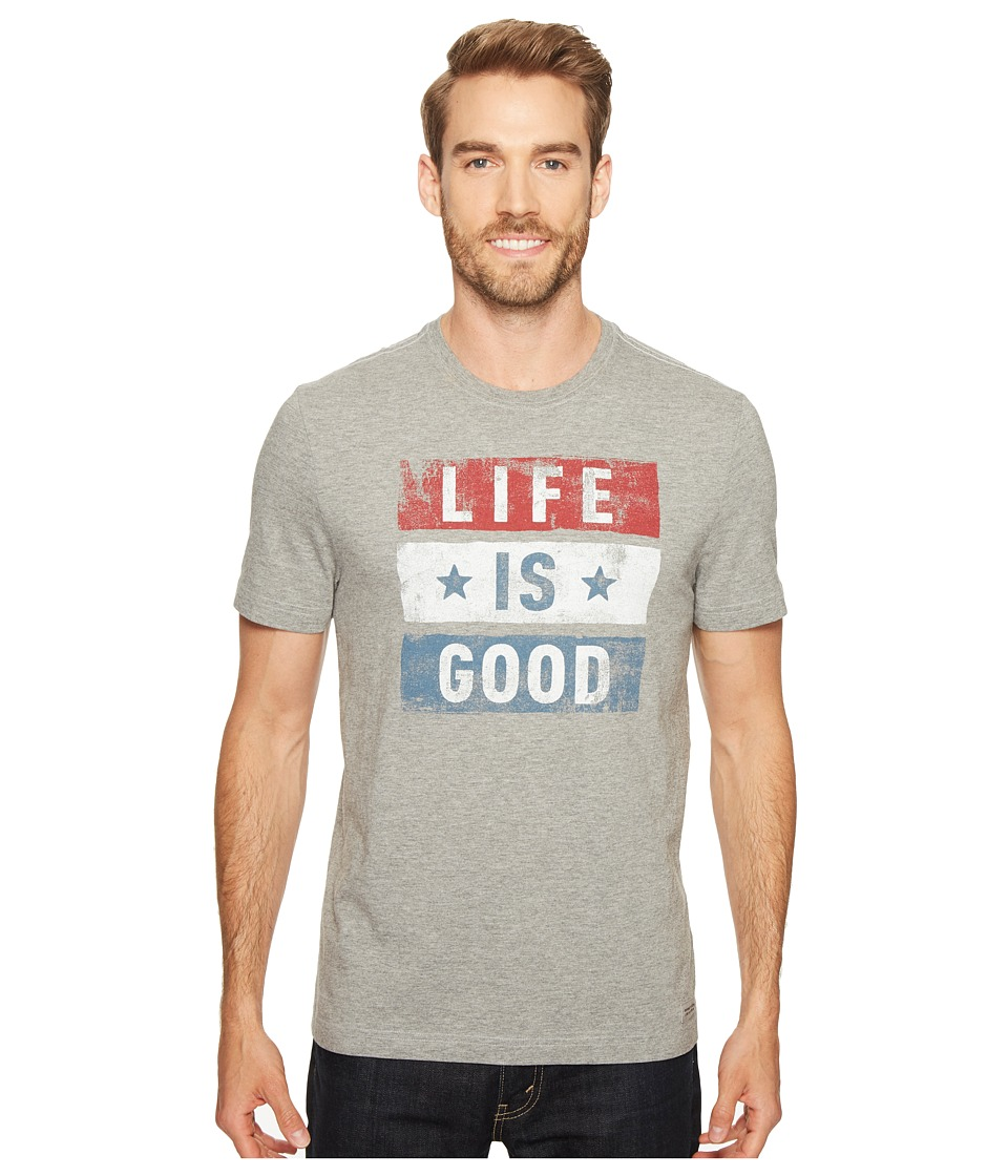 Life is Good - Stars Stripes Crusher Tee (Heather Gray) Men's T Shirt