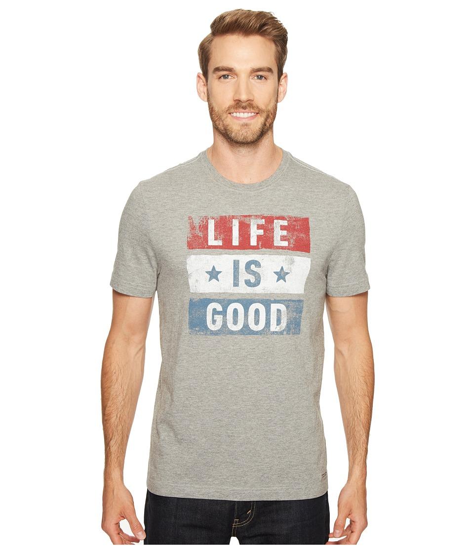 Life is Good Stars Stripes Crusher Tee (Heather Gray) Men