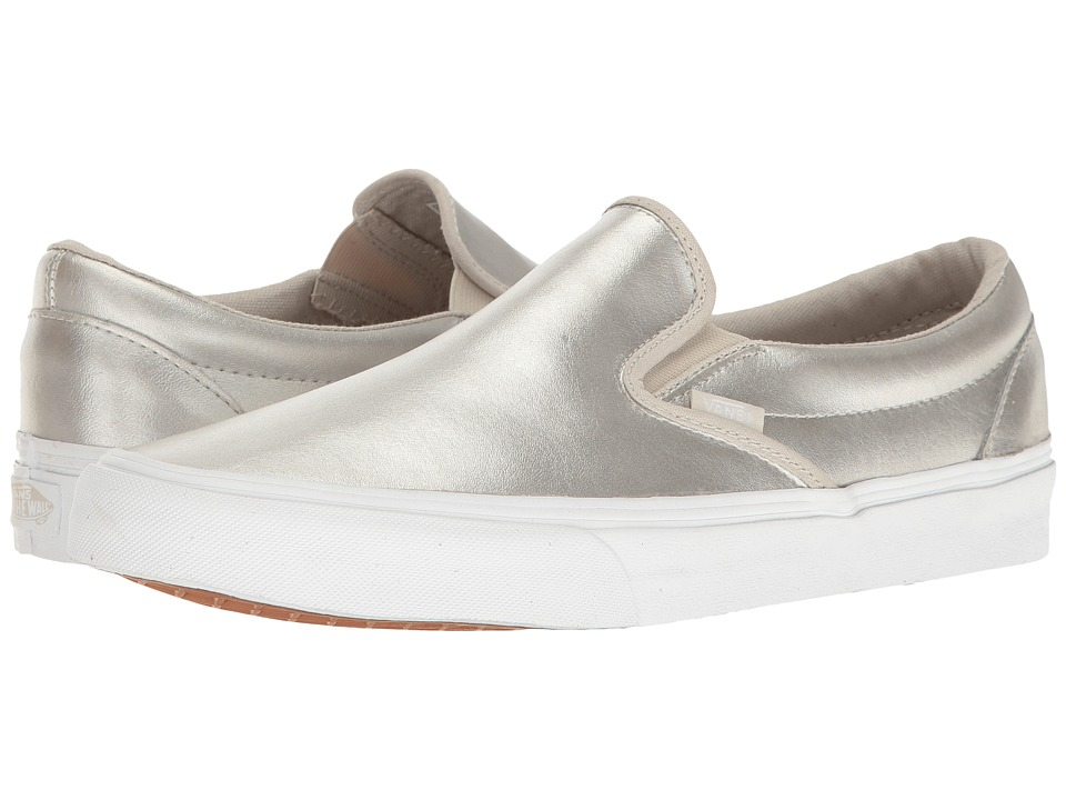 Vans - Classic Slip-On ((Metallic) Silver/True White 2) Skate Shoes