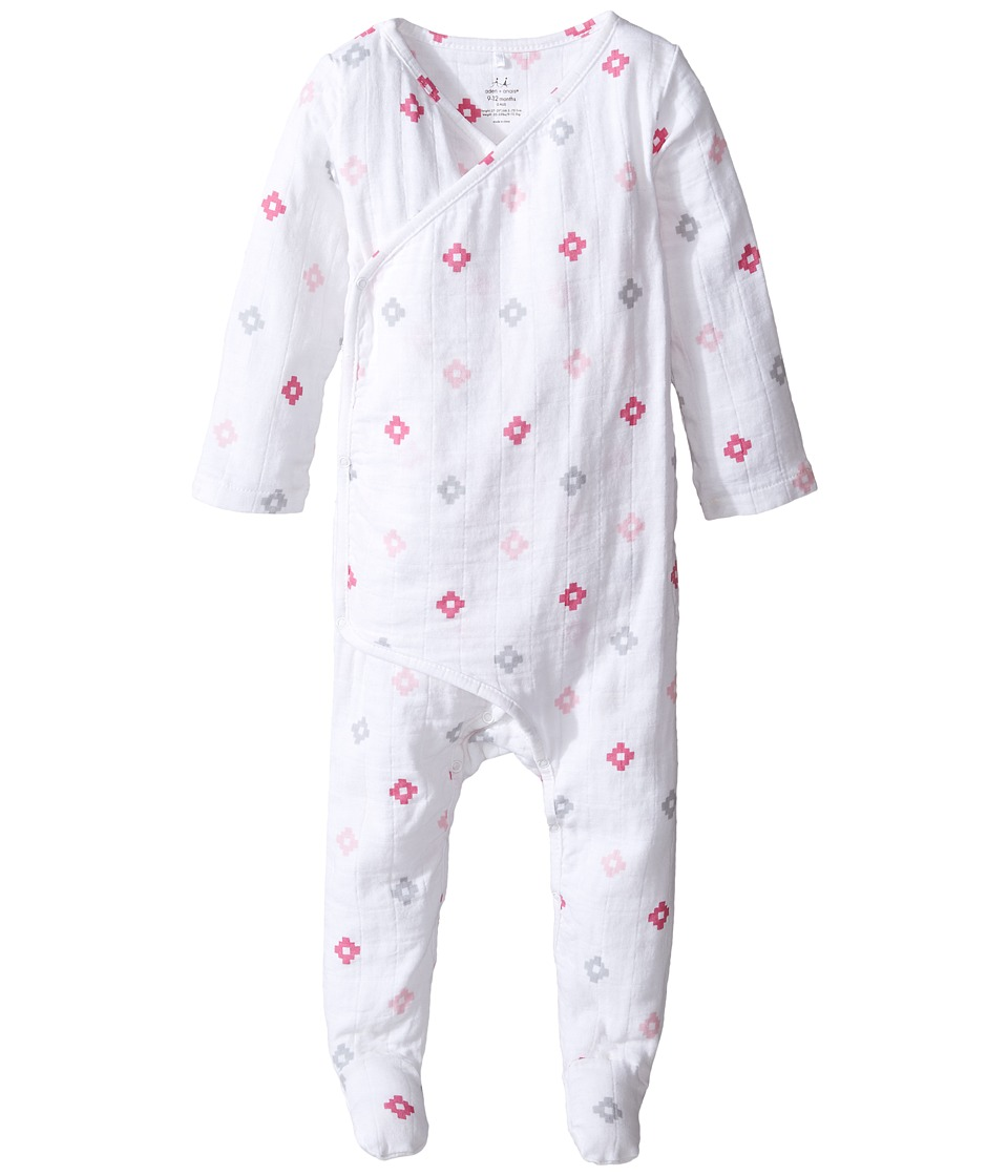 aden + anais - Long Sleeve Kimono One-Piece (Infant) (Pink Aztec) Girl's Jumpsuit & Rompers One Piece