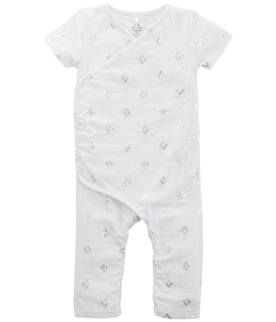 aden + anais - Short Sleeve Kimono Bodysuit (Infant) (Metallic Silver Aztec) Kid's Jumpsuit & Rompers One Piece
