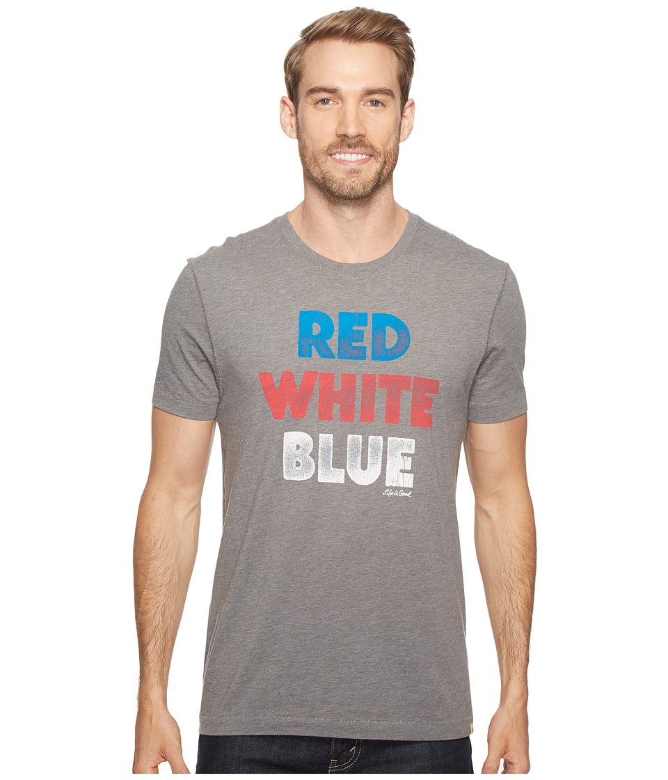 Life is Good - Red White Blue Cool Tee (Slate Gray) Men's T Shirt