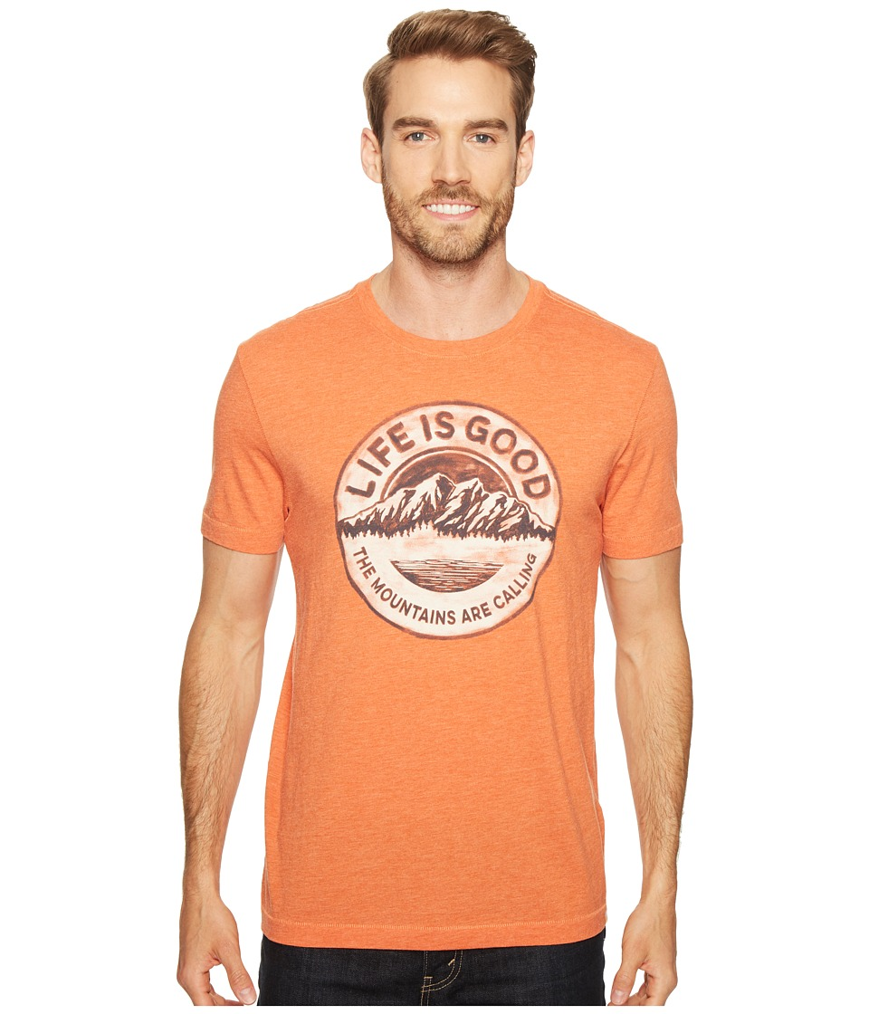 Life is Good - Mountains Calling Cool Tee (Deep Orange) Men's T Shirt