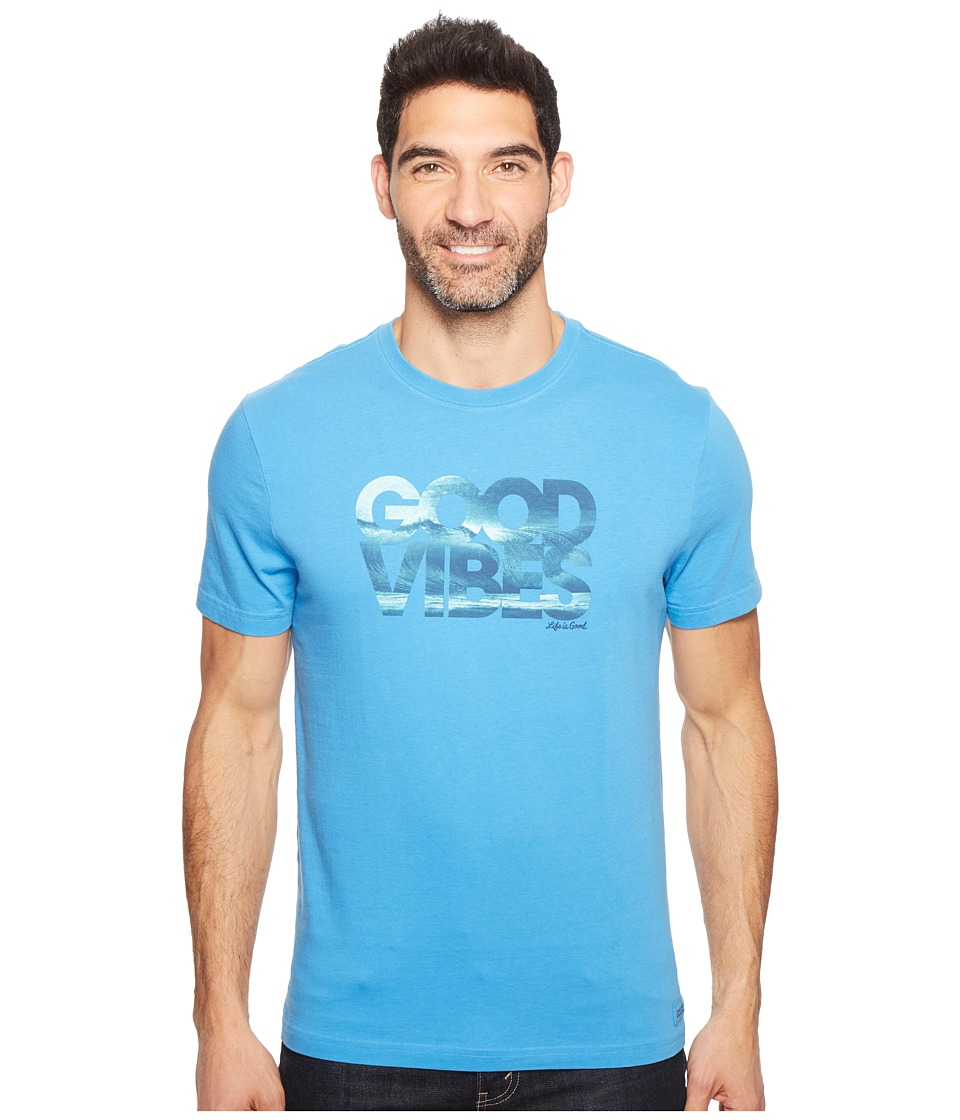 Life is Good - Good Vibes Wave Crusher Tee (Marina Blue) Men's T Shirt