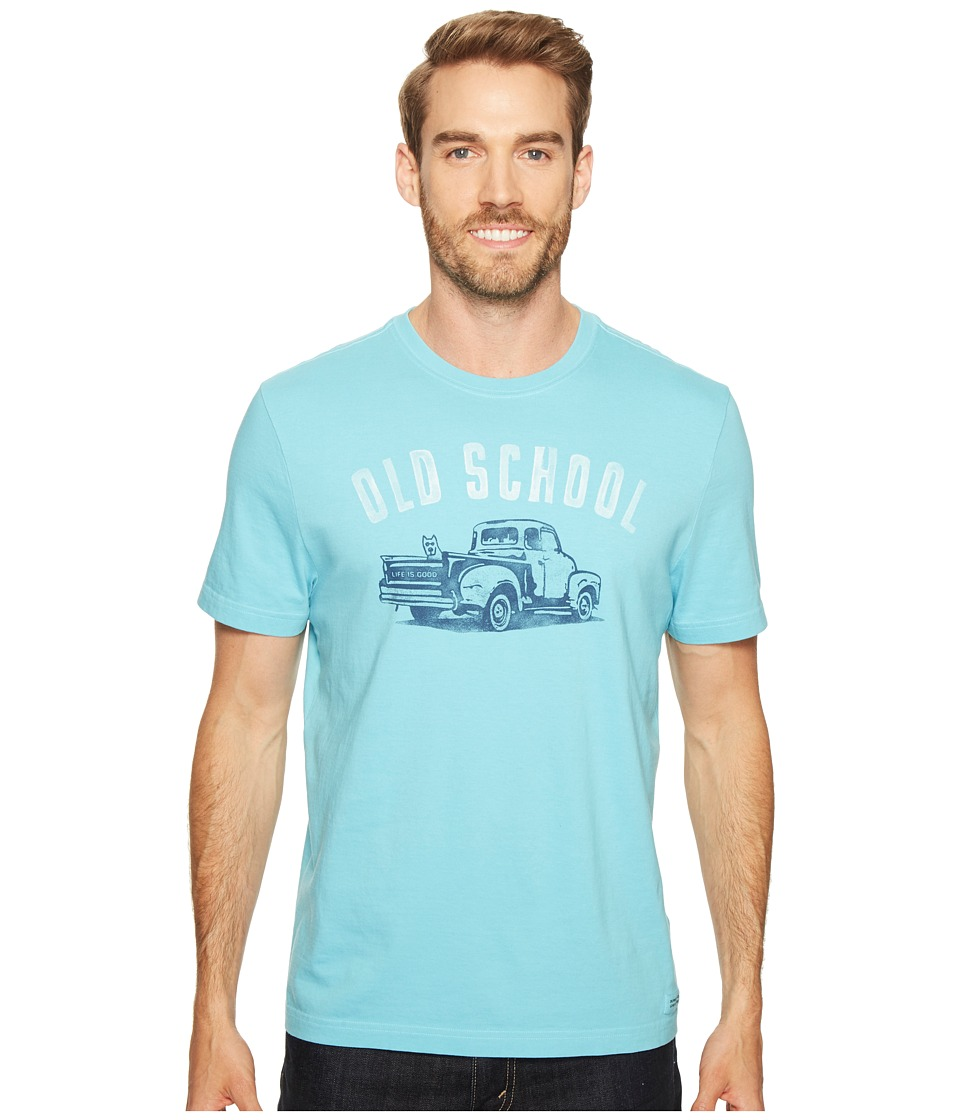 Life is Good - Old School Crusher Tee (Bleached Blue) Men's T Shirt