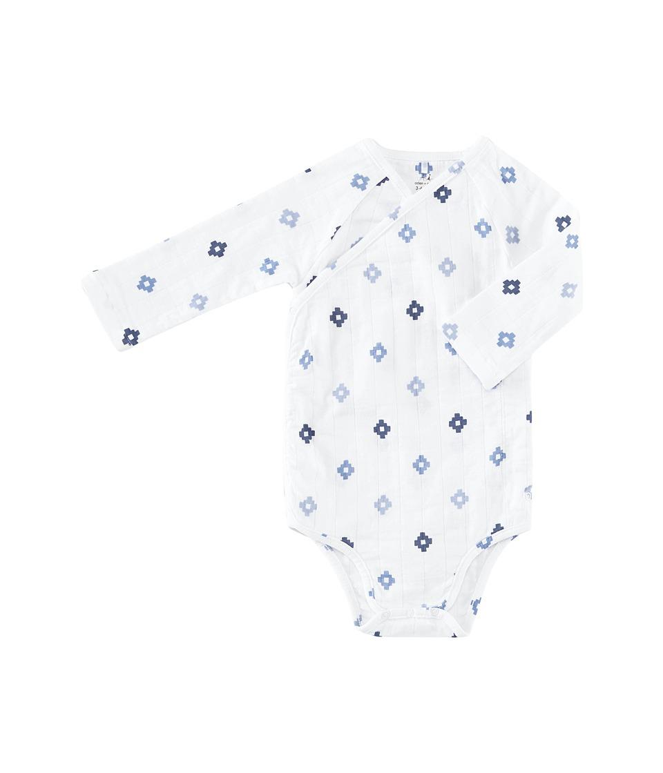 aden + anais - Long Sleeve Kimono Bodysuit (Infant) (Blue Aztec) Boy's Jumpsuit & Rompers One Piece