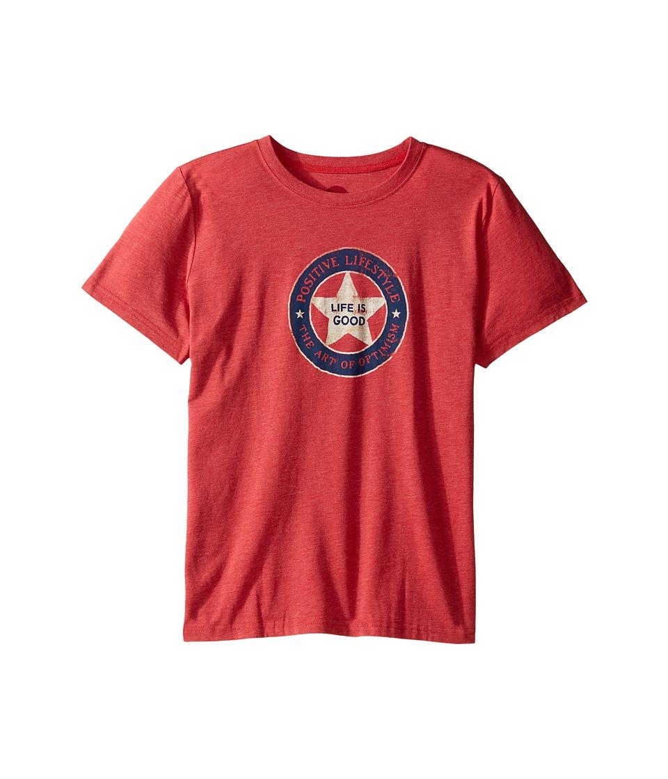 Life is Good Kids - Positive Lifestyle Cool Tee (Little Kids/Big Kids) (Americana Red) Boy's T Shirt