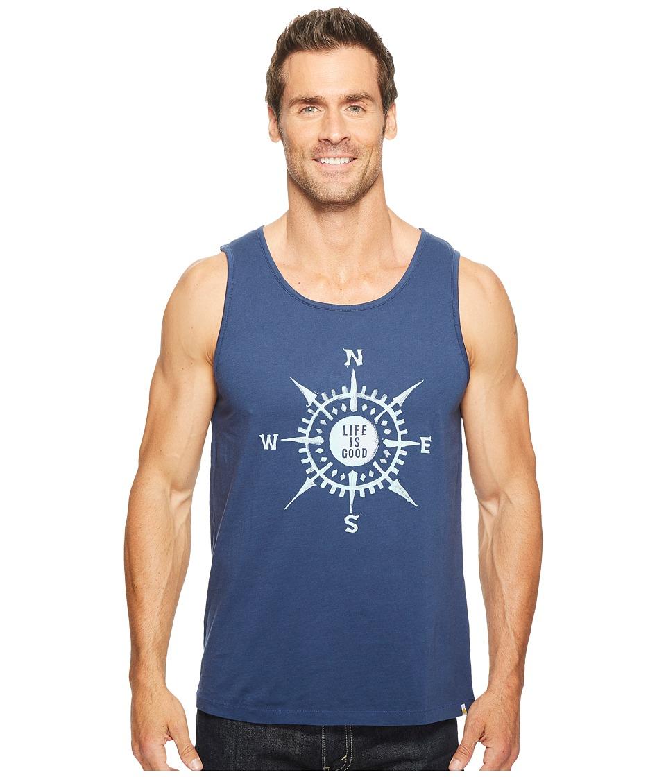 Life is Good - Compass Surfer Tank (Darkest Blue) Men's T Shirt