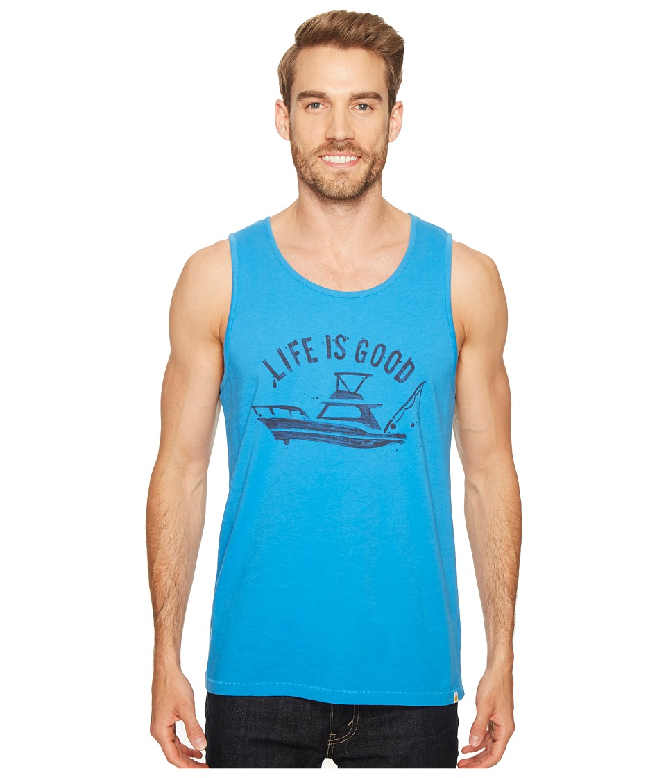 Life is Good - Fish Boat Surfer Tank (Marina Blue) Men's T Shirt
