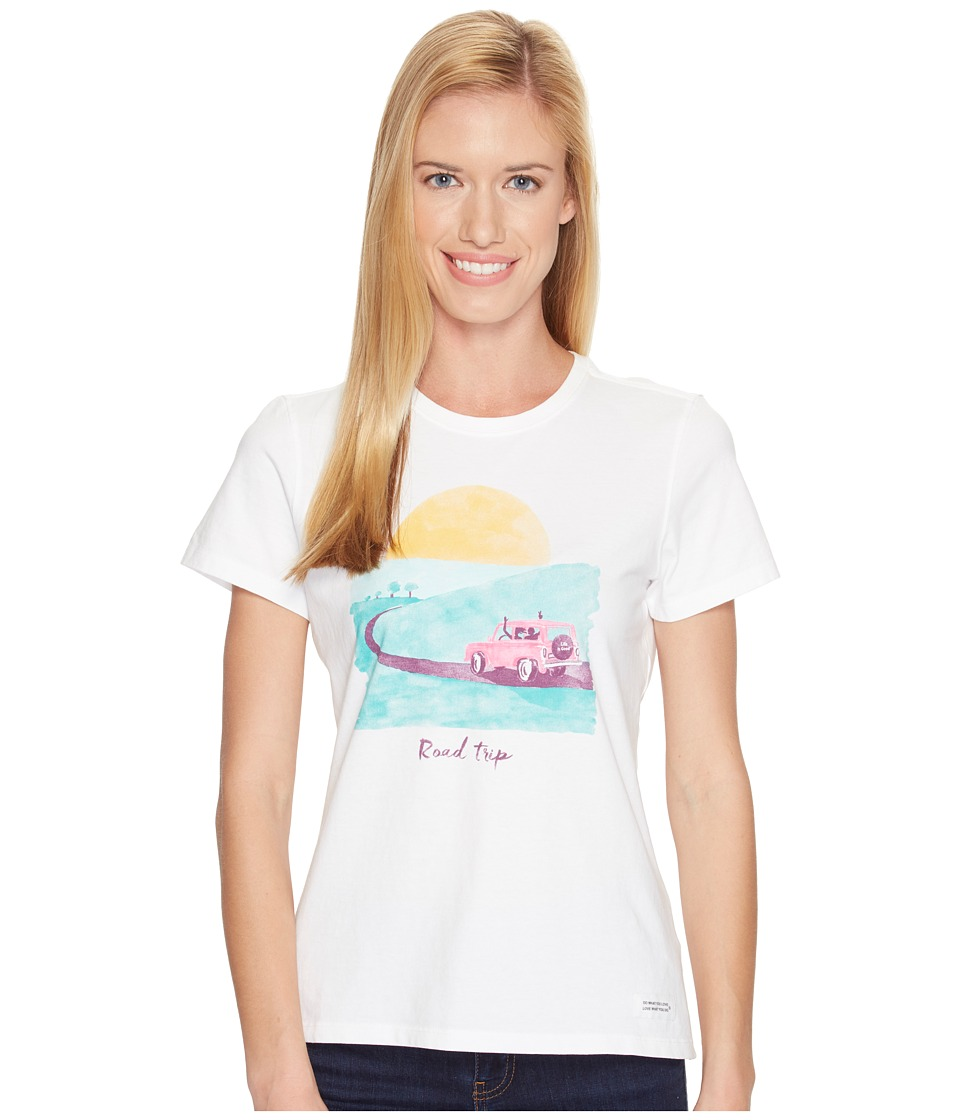 Life is Good - Road Trip Sunset Crusher Tee (Cloud White) Women's T Shirt