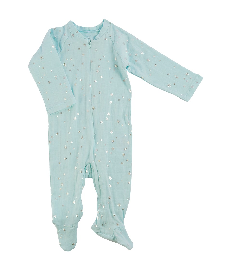 aden + anais - Long Sleeve Zipper One-Piece (Infant) (Metallic Skylight/Starburst) Boy's Jumpsuit & Rompers One Piece