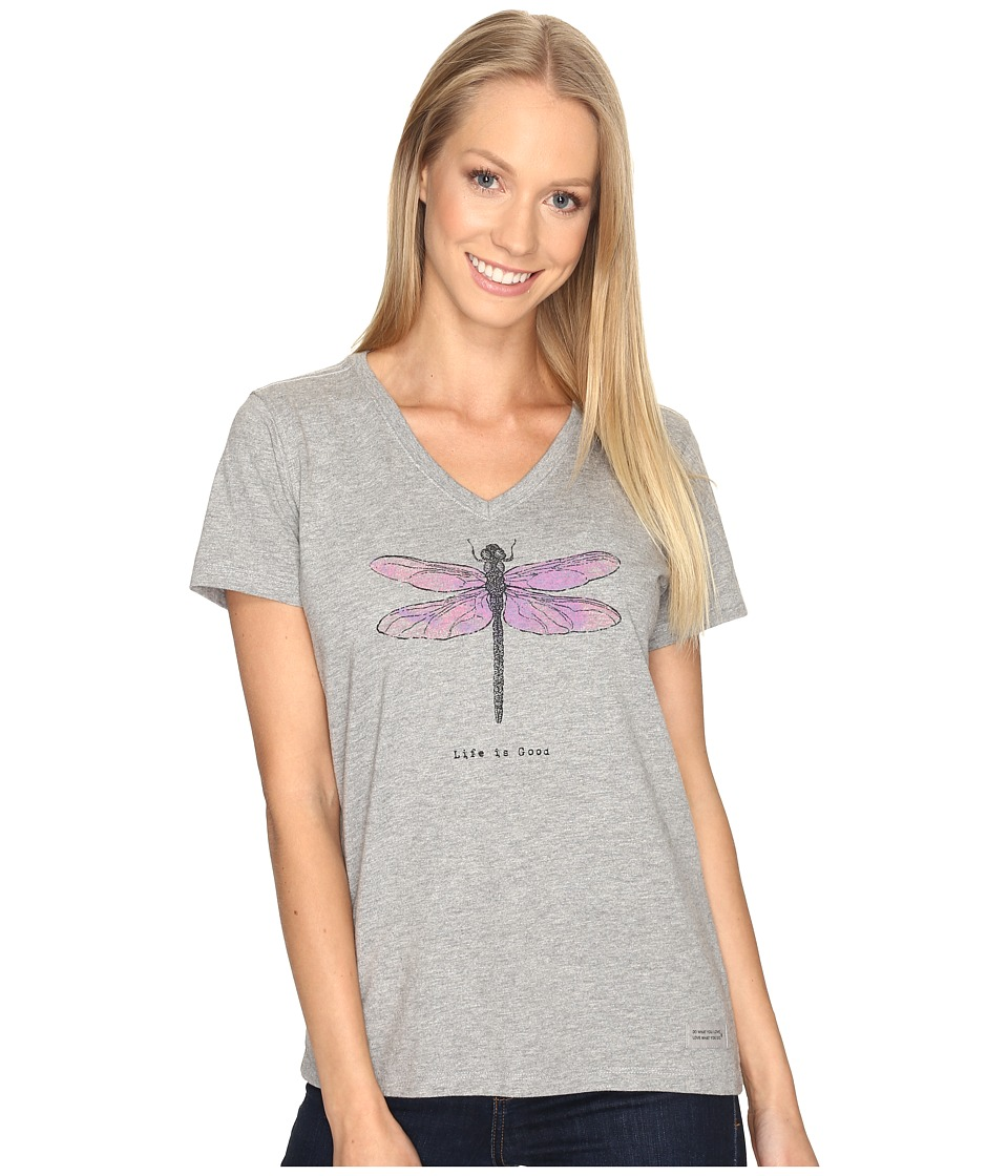 Life is Good Dragonfly Engraved Crusher Vee (Heather Gray) Women