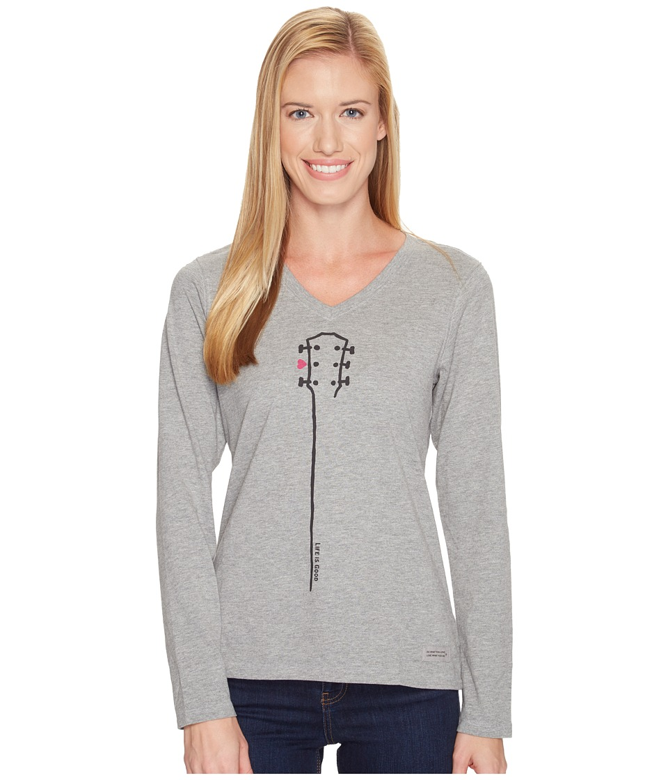 Life is Good Guitar Neck Long Sleeve Crusher Vee (Heather Gray) Women
