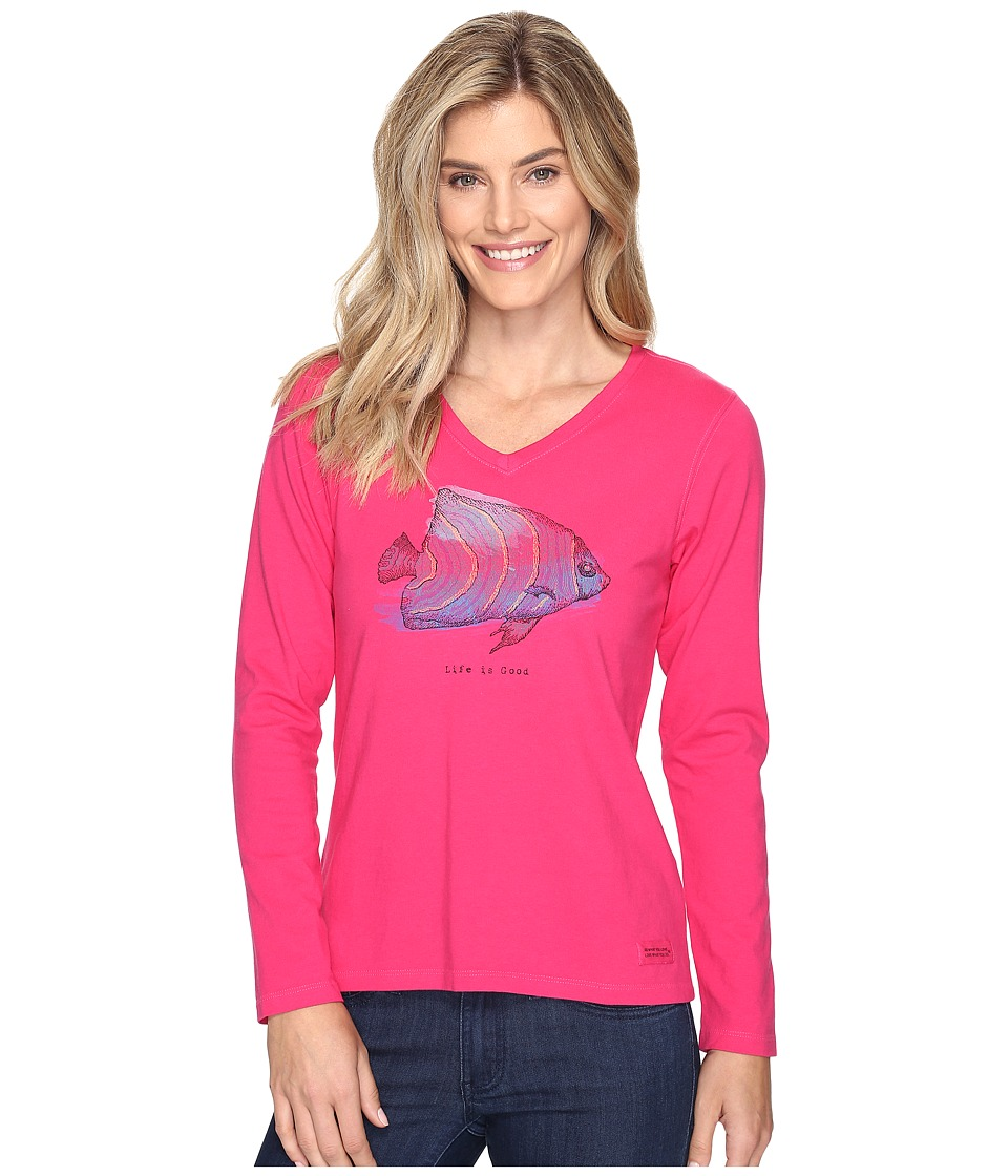Life is Good - Tropical Fish Engraved Long Sleeve Crusher Vee (Pop Pink) Women's T Shirt