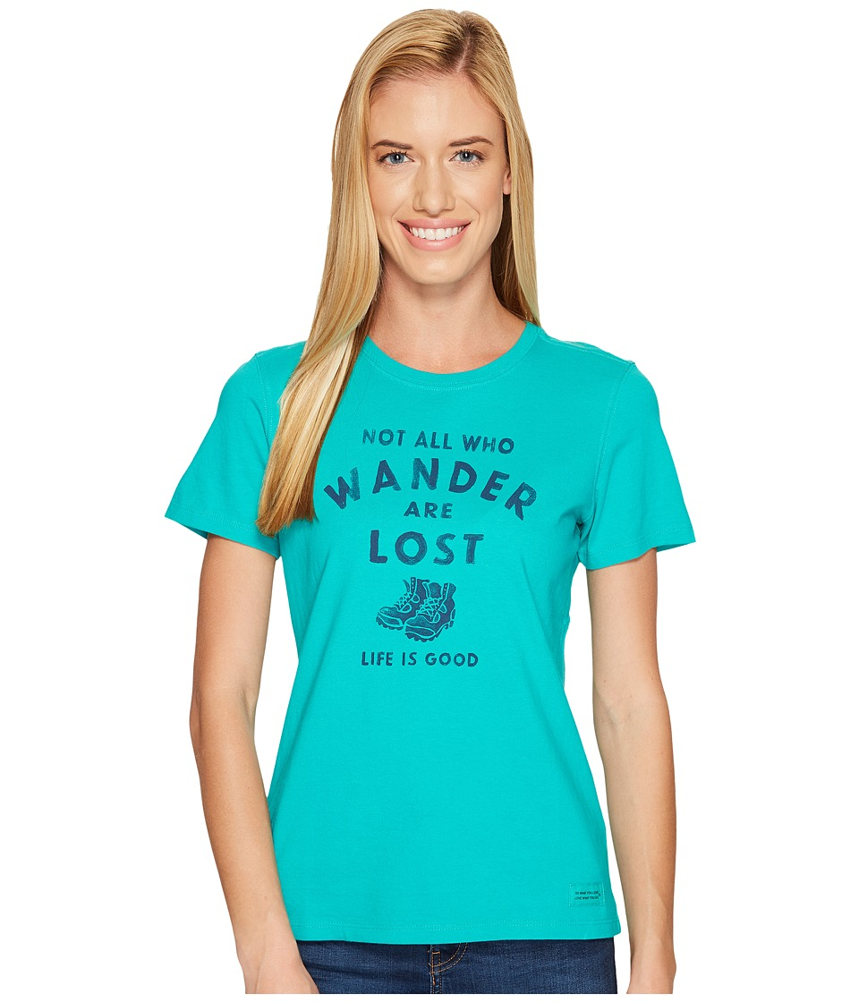 Life is Good Wander Hike Crusher Tee (Bright Teal) Women