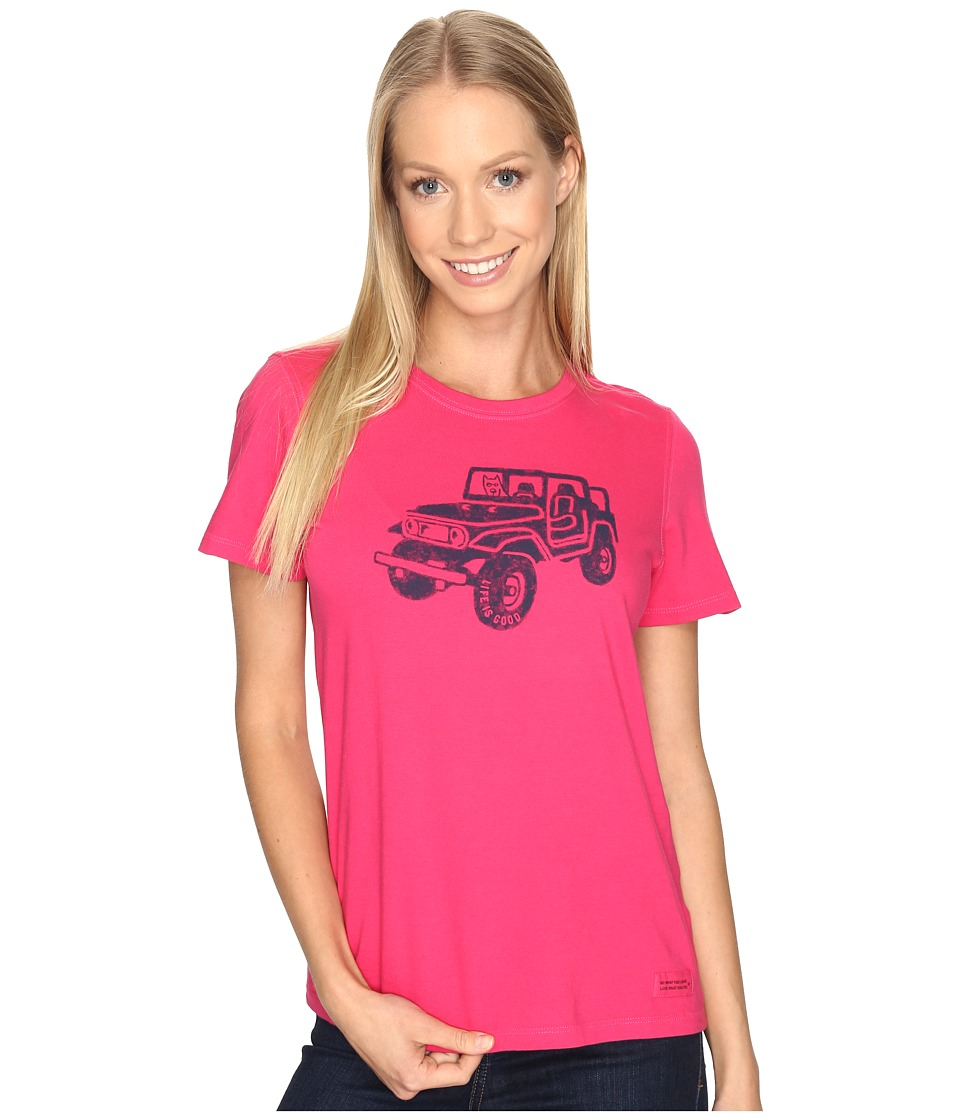 Life is Good Offroad 4X4 Crusher Tee (Pop Pink) Women