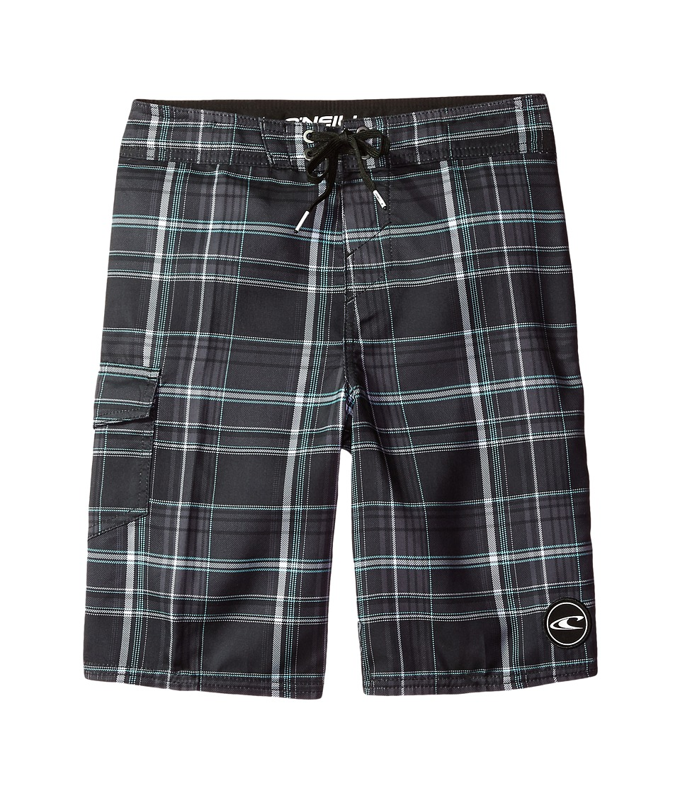 O'Neill Kids - Santa Cruz Plaid Boardshorts (Big Kids) (Black 1) Boy's Swimwear