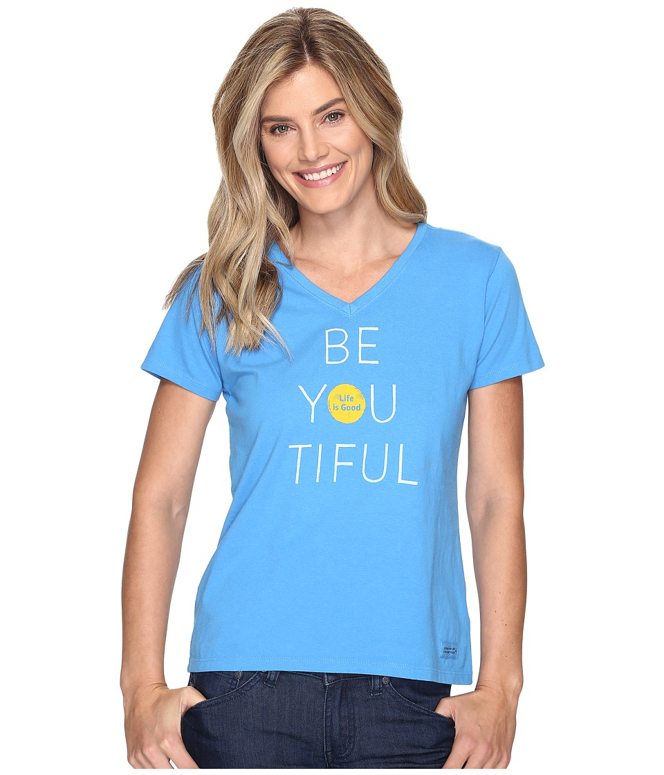 Life is Good - Be You Tiful Crusher Vee (Tile Blue) Women's T Shirt