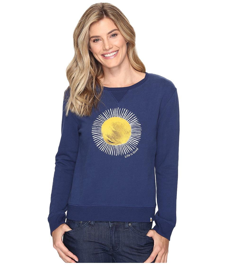 Life is Good Sun Go-To Crew Sweatshirt (Darkest Blue) Women