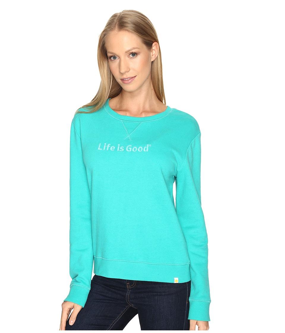 Life is Good - Life is Good(r) Go-To Crew Sweatshirt (Bright Teal) Women's Sweatshirt