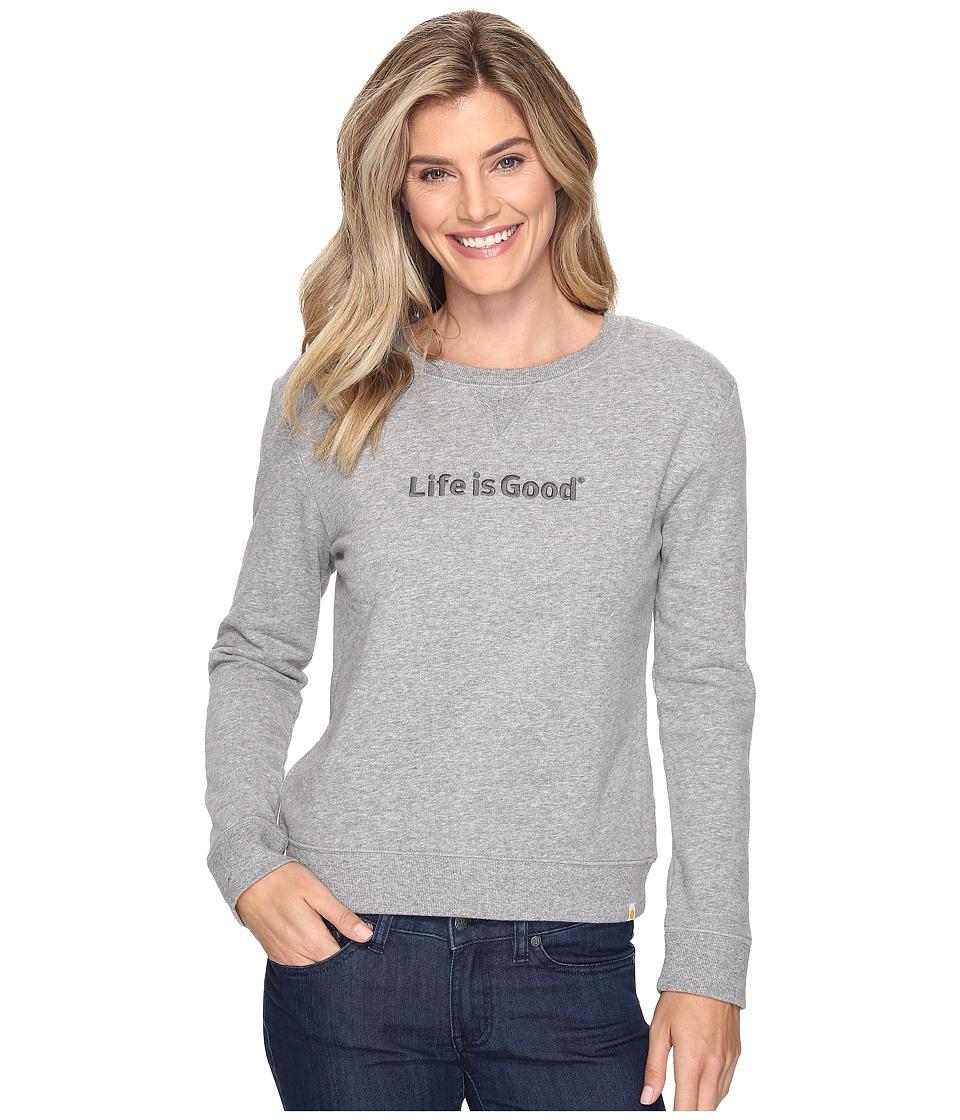 Life is Good - Life is Good(r) Go-To Crew Sweatshirt (Heather Gray) Women's Sweatshirt