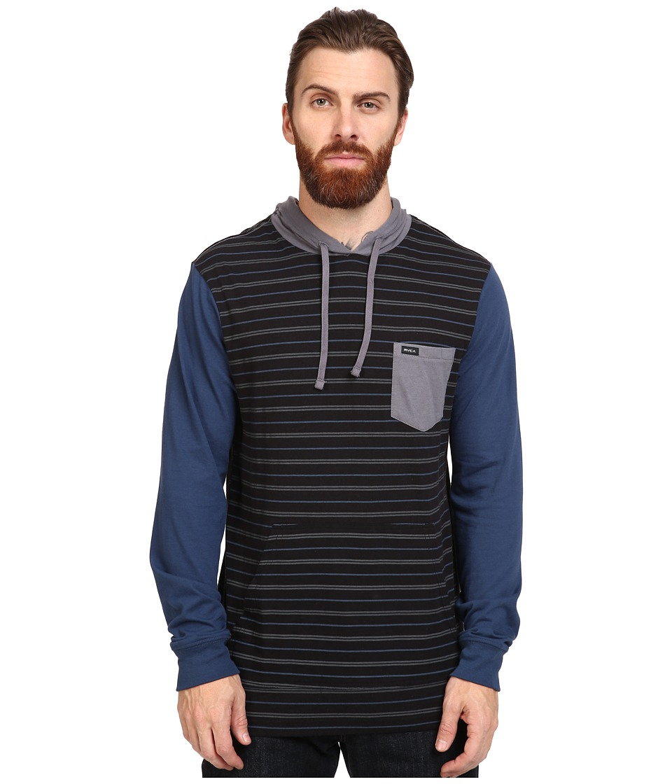 RVCA - Set Up Hoodie (Black/Blue) Men's Sweatshirt