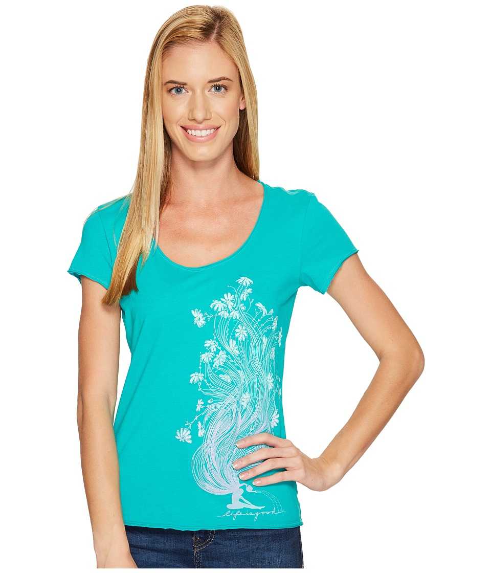 Life is Good Garden Pose Smooth Tee (Bright Teal) Women