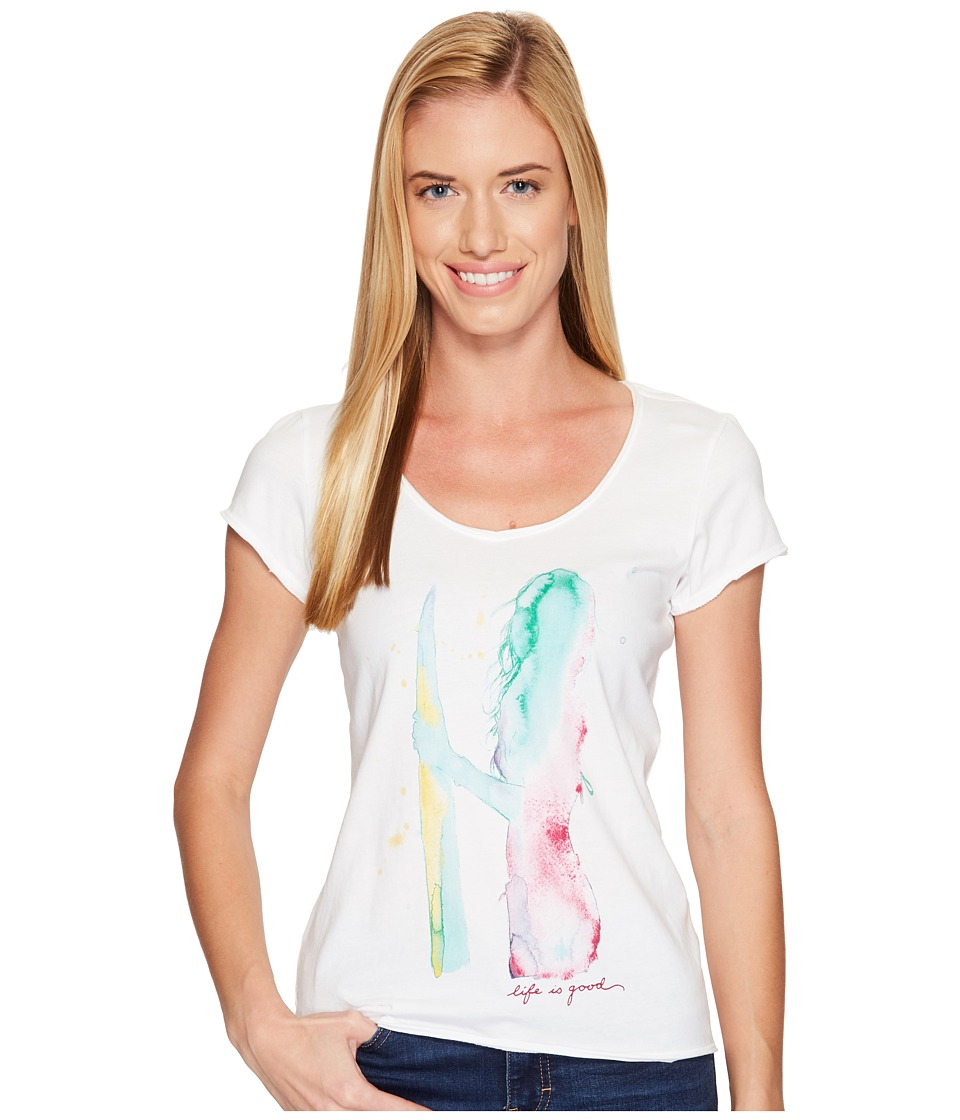 Life is Good - Surfer Smooth Tee (Cloud White) Women's T Shirt