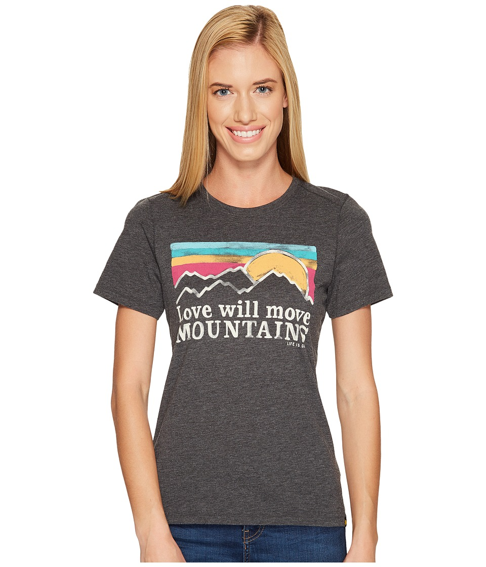 Life is Good - Mountains Sunset Stripe Cool Tee (Night Black) Women's T Shirt