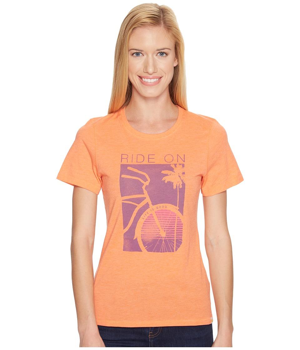 Life is Good - Ride On Bike Cool Tee (Tropical Orange) Women's T Shirt