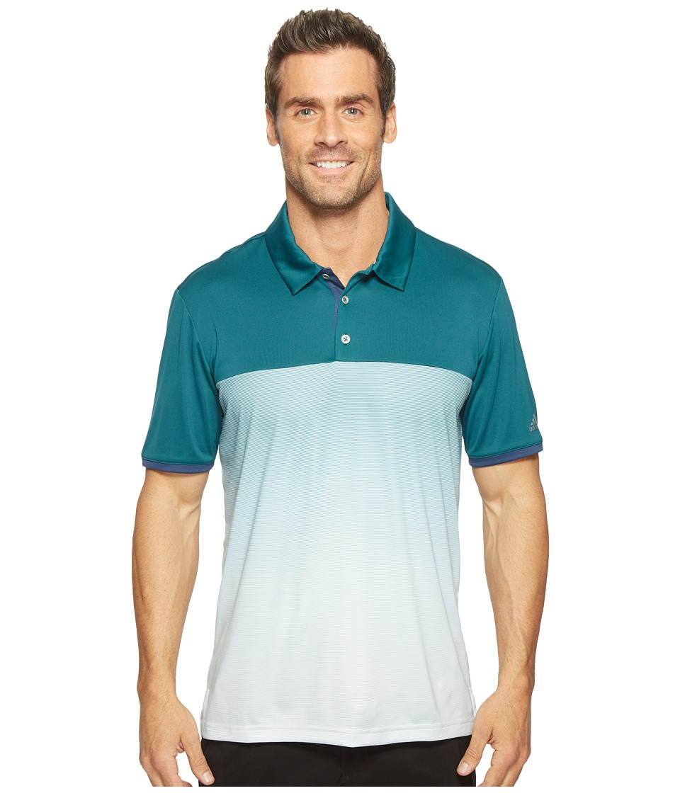 adidas Golf - climachill Gradient Stripe Polo (Rich Green) Men's Short Sleeve Pullover
