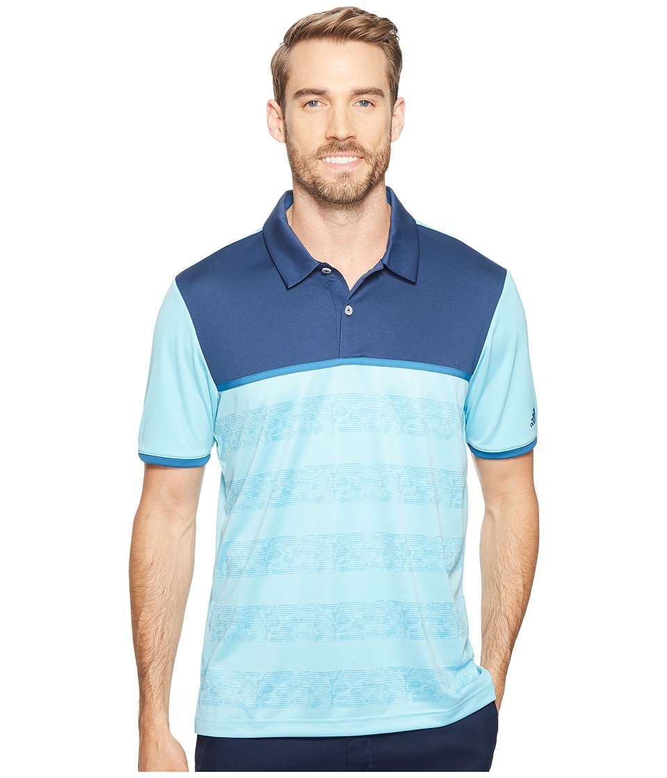 adidas Golf - climacool 2D Camo Stripe Print (Light Aqua) Men's Short Sleeve Pullover