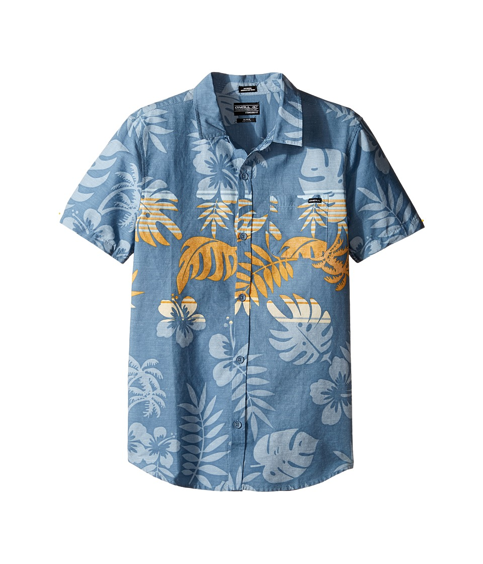 O'Neill Kids - Brotanical Short Sleeve Woven Shirt (Big Kids) (Blue) Boy's Short Sleeve Button Up