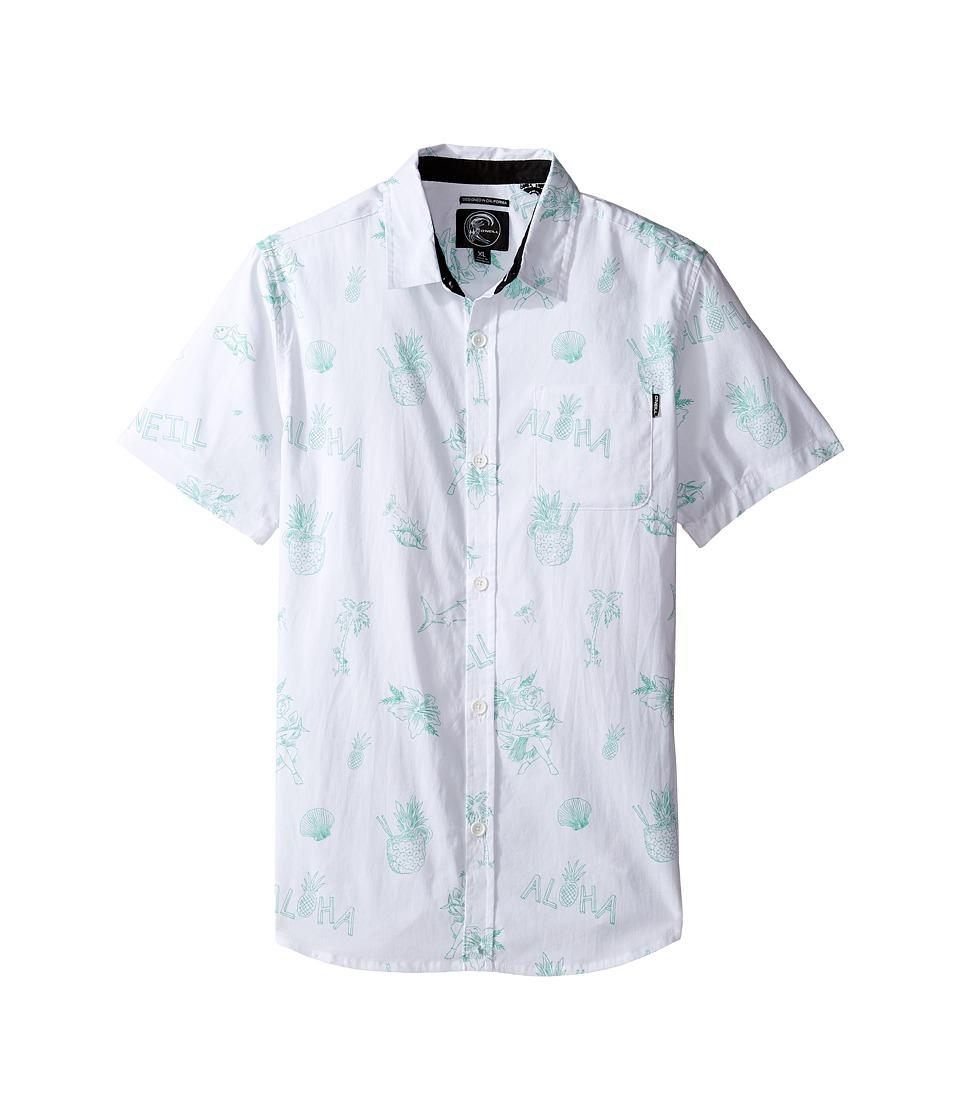O'Neill Kids - Aloha Short Sleeve Woven Shirt (Big Kids) (White) Boy's Short Sleeve Button Up