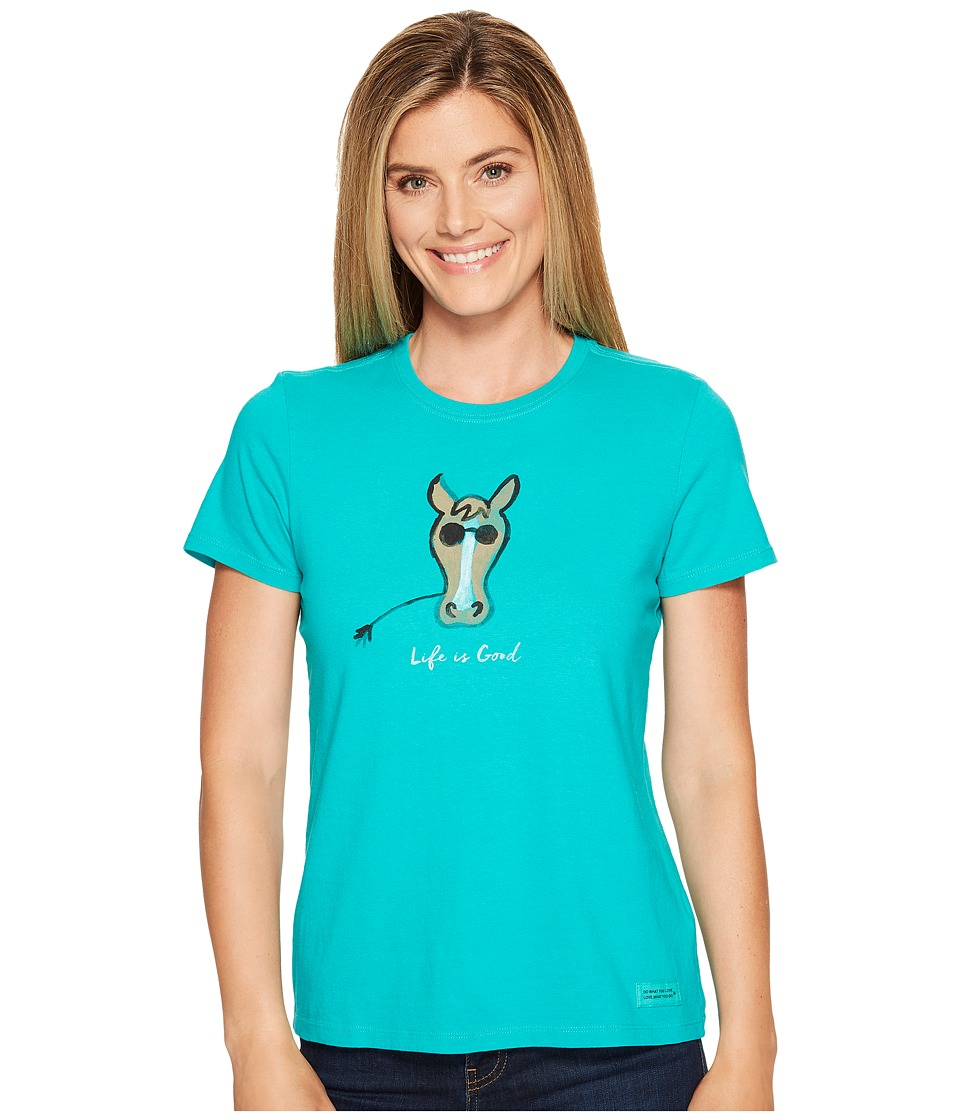 Life is Good - Cool Horse Crusher Tee (Bright Teal) Women's T Shirt