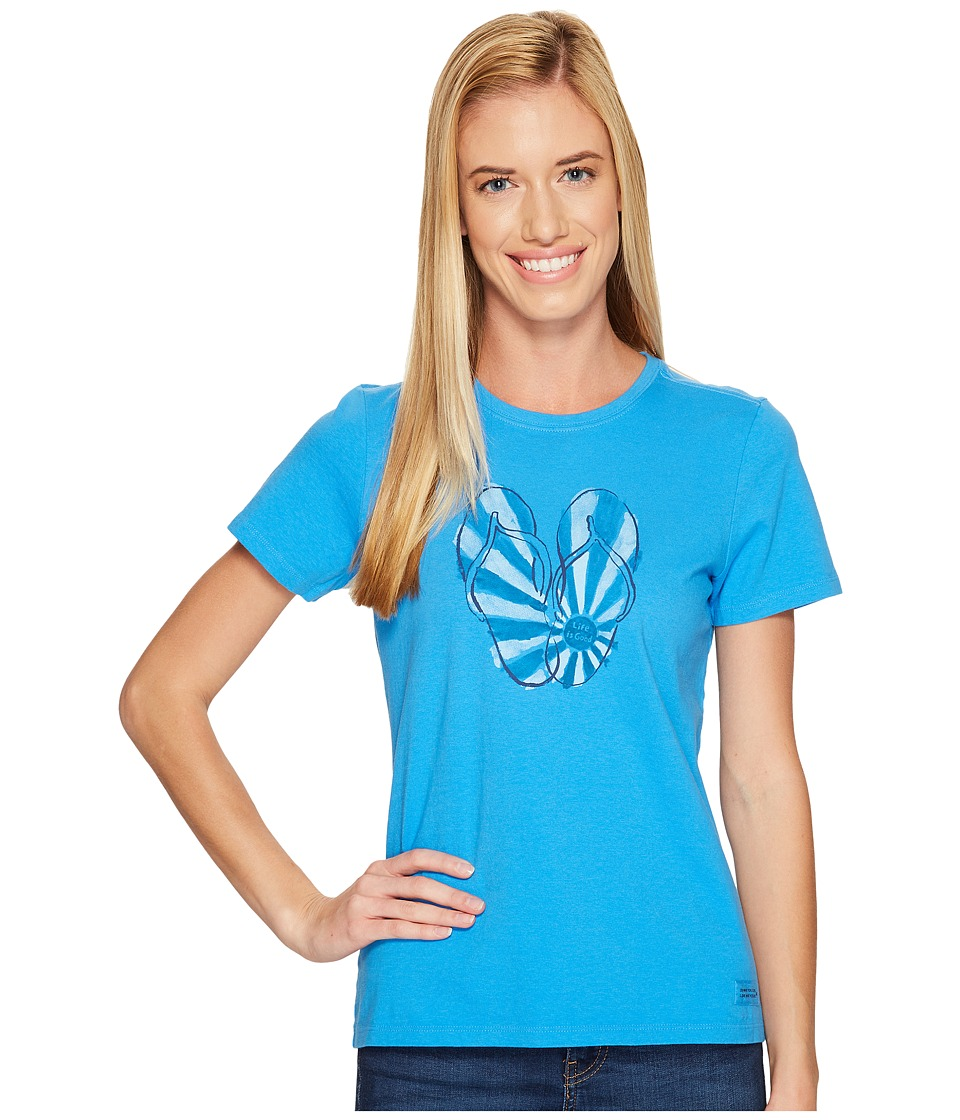 Life is Good Flip Flops Crusher Tee (Tile Blue) Women