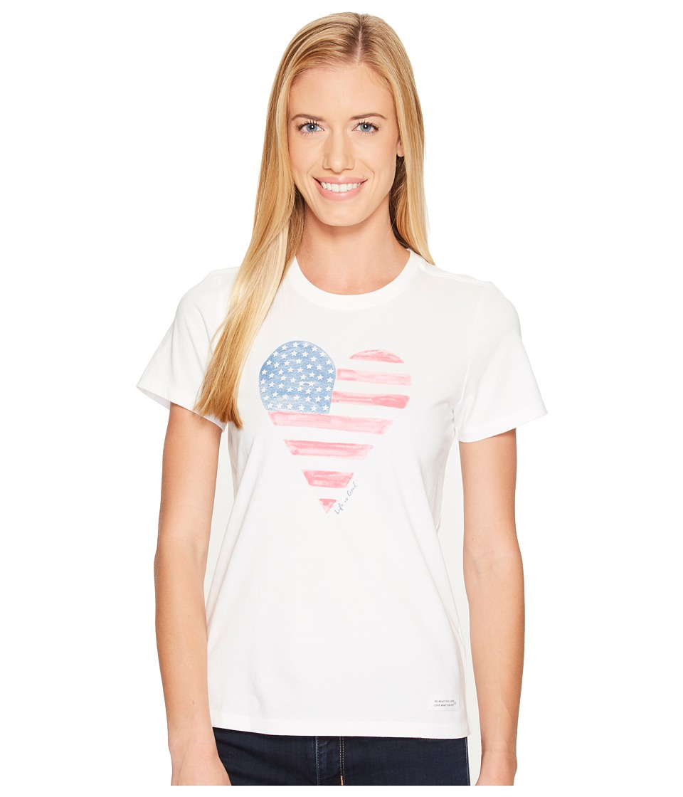 Life is Good - Heart Flag Crusher Tee (Cloud White) Women's T Shirt