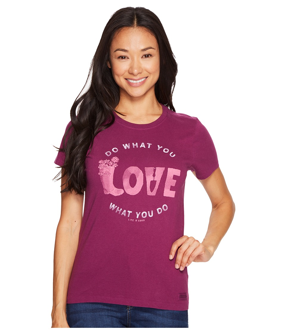 Life is Good Love Garden Crusher Tee (Deep Plum) Women
