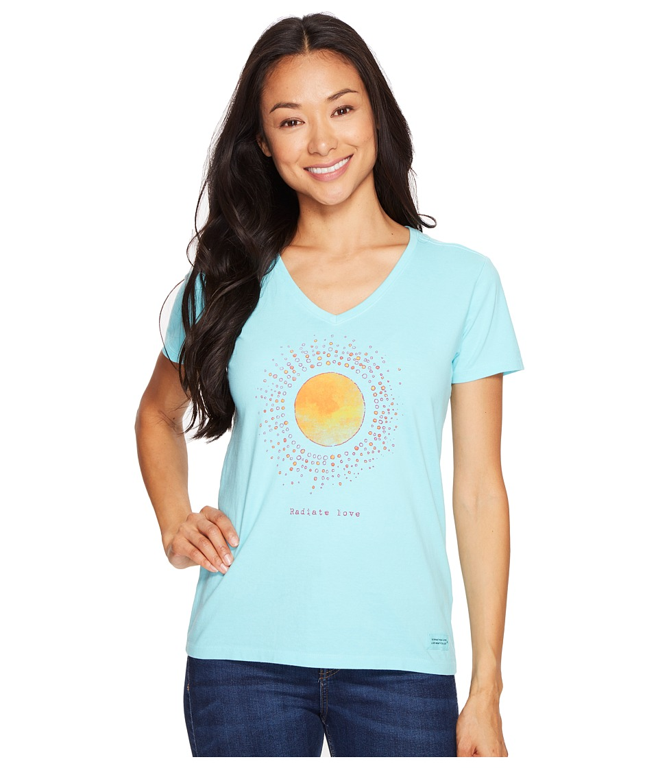 Life is Good - Radiate Love Crusher Vee (Fresh Blue) Women's T Shirt