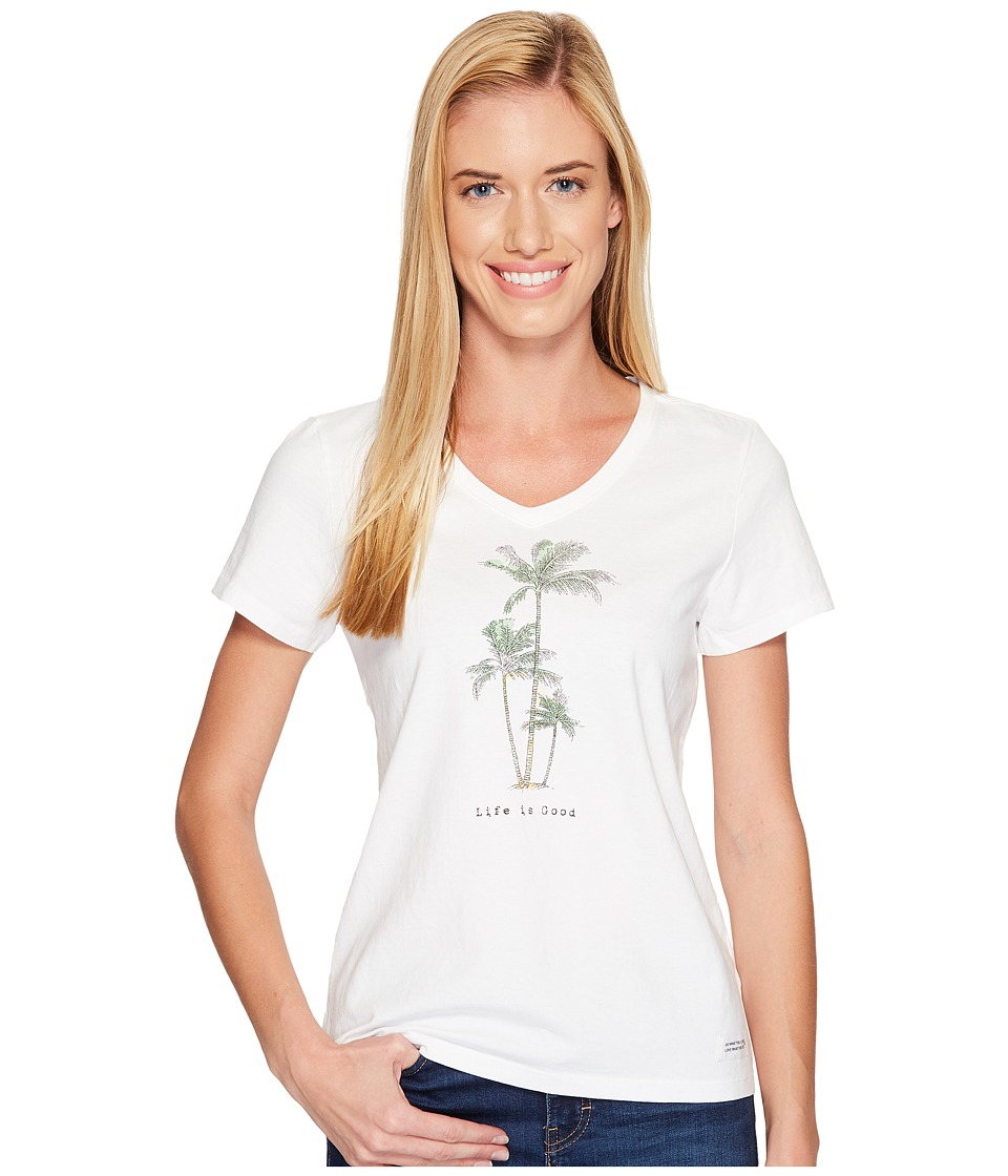 Life is Good - Palm Trees Crusher Vee (Cloud White) Women's T Shirt