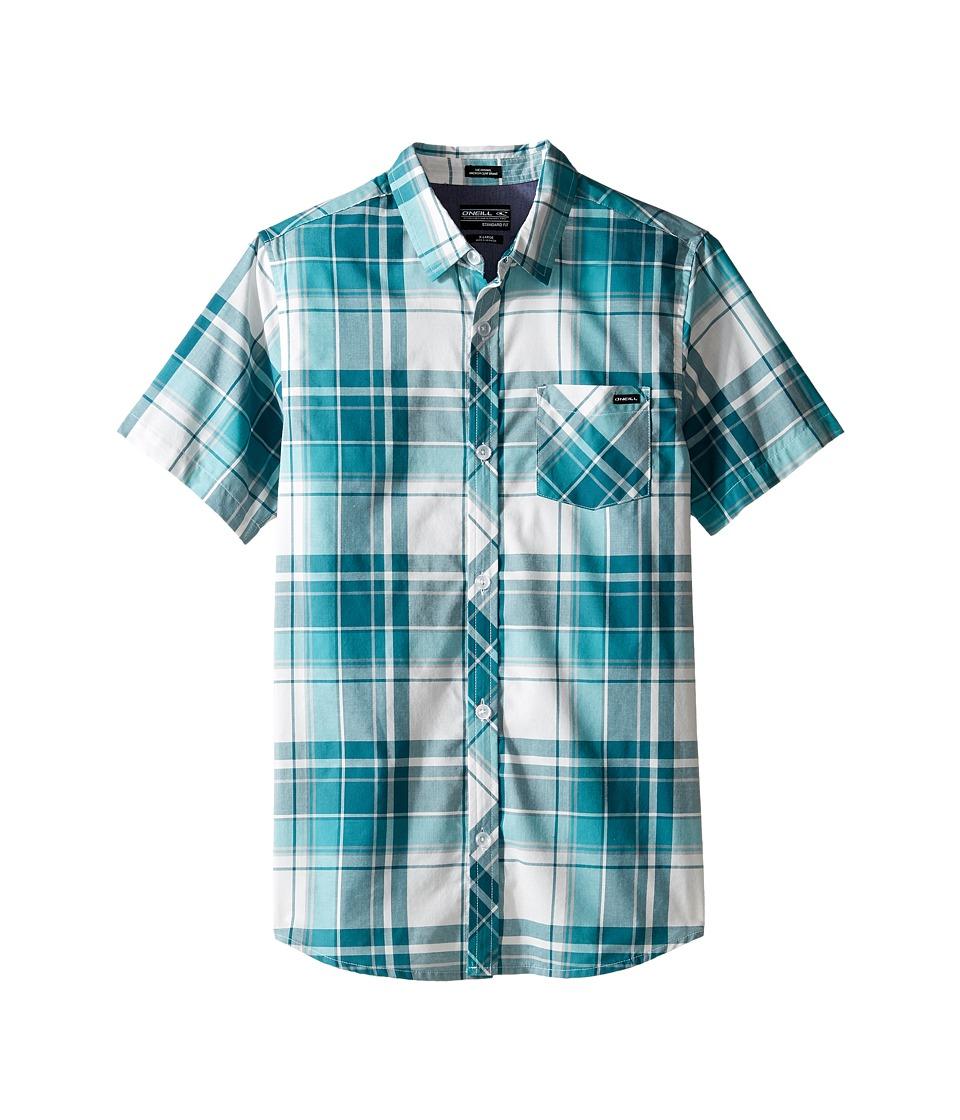 O'Neill Kids - O'Neill Plaid Short Sleeve Woven Shirt (Big Kids) (Ink) Boy's Short Sleeve Button Up
